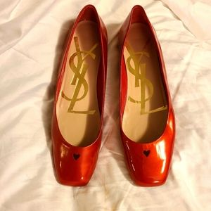 Yves Saint Laurent Red Patent Love Ballerina Flats